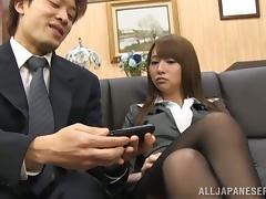 Mako Higashio gets blackmailed and mouth-fucked in an office