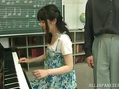 Piano, Asian, Blowjob, Couple, Hairy, Japanese