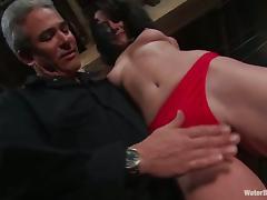 Brunette Gretchen Elvgren gets spanked and hosed