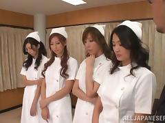 Five horny Japanese nurses share some lucky dude's cock