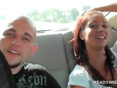 Brunette sweetheart picked up to fuck for cash in 3some