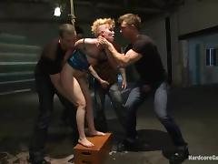 Kinky Sasha Knox gets tied up and fucked by several guys