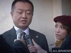 Sexy Japanese journalist takes a very private interview