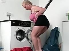 MILF gets drilled in the washing room after a blowjob tube porn video