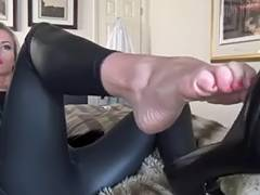 foot tease in leather leggings and high heels tube porn video