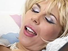 Trashy mature c cup golden haired sucks juvenile mate's knob then that fella licks her fur pie