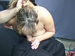 Fat S M wench acquires teats pinched then fastened on table for BJ tube porn video