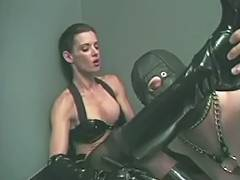 Boy Friend in mask engulfing on his Femdom Goddess' boots tube porn video