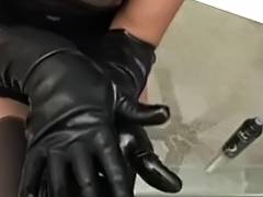 Testing her recent gloves