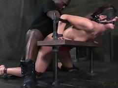 Blindfolded, BDSM, Blindfolded, Bondage, Brunette, Interracial