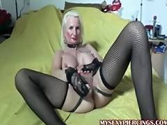 Pierced granny with chains to her pierced fur pie lips tube porn video