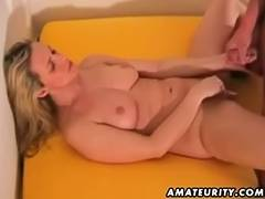 Breasty non professional girlfriend sucks and copulates with cum
