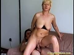 Avid old mommy acquires drilled hard engulfing jock for ejaculation