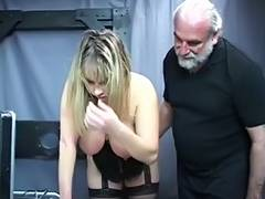 Old fella master pulls corpulent sub's hair and smacks her large bumpers tube porn video
