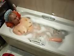 Aged White Mamma Bathes and Plays on Hidden Web Camera Voyeur