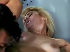 Golden Haired grandma in jail still has the oral pleasure and fucking skills