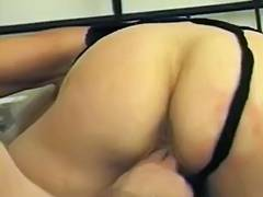 Lusty granny lets him face sit as this babe licks his perspired sack