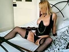 British Golden Haired Sub Floozy Handcuffed Up and Used