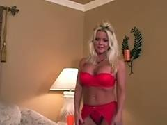 Erin clothed in hot red garter strap FF nylons heels tube porn video