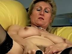 Golden Haired Granny Takes Care of Her Shaggy Muff tube porn video