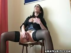 Non Professional girlfriend toys bonks sucks and eats cum