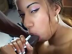 Swarthy playgirl takes dark 10 Pounder anal