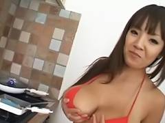 Large scoops oriental Hitomi Tanaka at the kitchen tube porn video