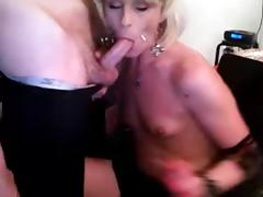 Shemale sucks off her man on cam