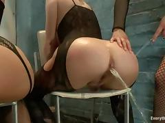 Three naughty anal loving girls fist their tight asses