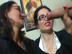 Sensual brunettes are masturbating this hard cock porn tube video