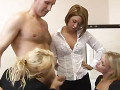 CFNM femdoms suck after tugging tube porn video