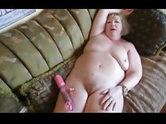 Granny masturbating with dildo and orgasm