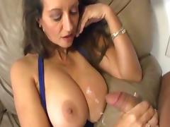 Horny milf is wanking a nice dick