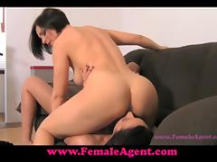 Horny brunette girl has wild lesbian sex at the interview