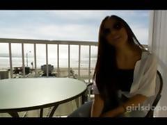 Bimbo films her first sex toy video