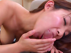 Asian babe with big boobies is fucking in her mouth