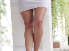 Lovely Elena Rae takes her dress off and masturbates