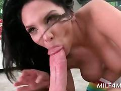 Dirty brunette MILF sucking giant dick in hardcore sixtynine