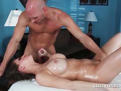 Hottie tit fucking her masseurs big loaded penis