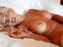 Sweet blonde shows off her stunning body