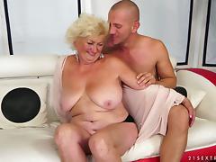 Tamara the horny granny gets toyed and fucked on a sofa tube porn video