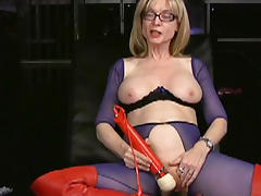 Bodystocking, Blonde, Bodystocking, Boots, Glasses, Masturbation