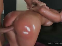 Hot ass bitch pussy banged from behind after massage