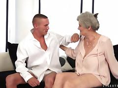 Aliz the slutty granny rides big dick and gets a mouthful tube porn video
