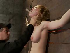 Lily Labeau Blonde Beauty Orgasms when Tied Above a Sybian