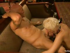 Superb sex slaves suck a cock and get pounded