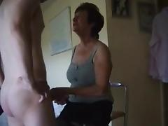Dominant old lady makes him lick her