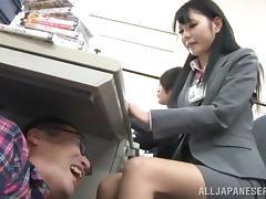 Slutty Japanese office girls get their tits massaged