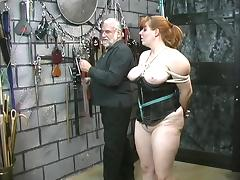 Cute thick slave girl in corset is restrained and humiliated by her master tube porn video