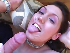 Hot brunette is sucking a cute tasty dick